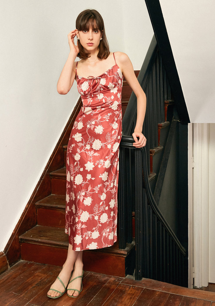 Camellia Printed Dress-Red