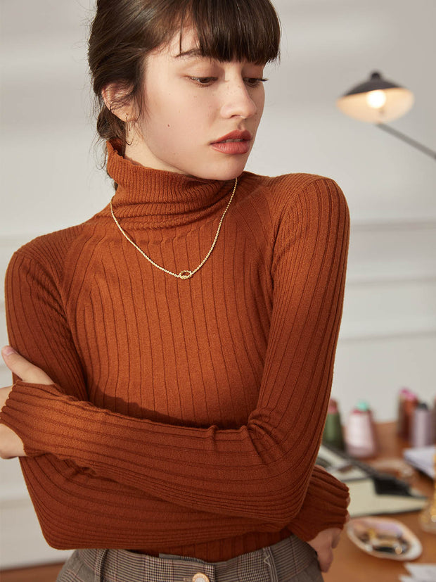 Vicky 100% Wool Turtleneck Sweater-Tangerine