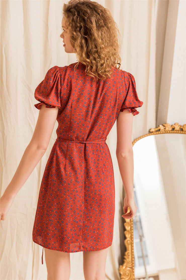 Jeanne Floral Tea Dress-Red
