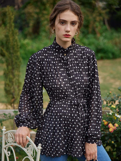 Sharon Polka Dot Chiffon Blouse/Simple Retro/11198