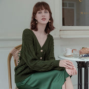 Olivia Wool Cardigan - Green