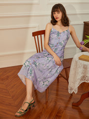 Alberta Tencel Purple Floral Dress