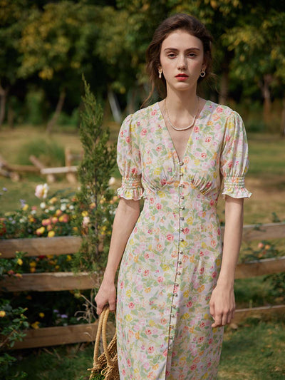 Kora Floral Printed Maxi Dress/Simple Retro/1200036