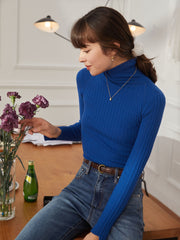 Vicky 100% Wool Turtleneck Sweater-Blue
