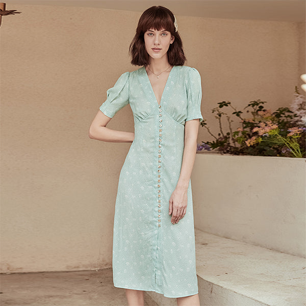 Yasmine V-Neck Printed Chiffon Tea Dress
