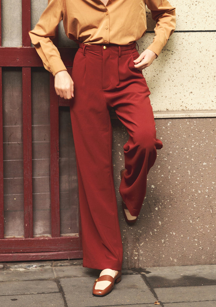 Beryl Suits Pants-Wine Red