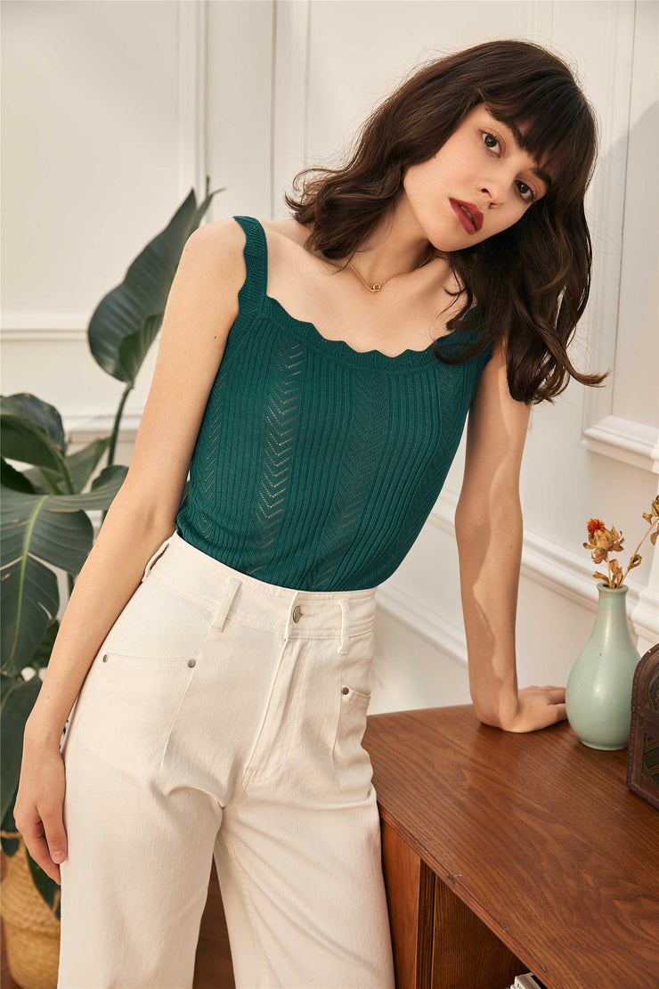 Gail  Knitted Vest-Green
