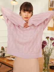 Joan Casual Sweater-Purple (Free Size)