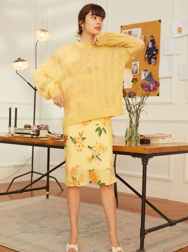 Joan Casual Sweater-Yellow (Free Size)