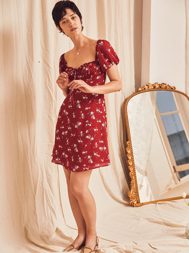 Aletta Floral Tea Dress-Red