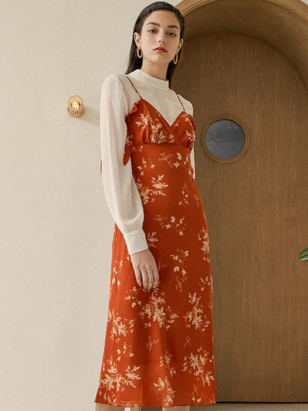 Agnes Koi Red Chiffon Dress