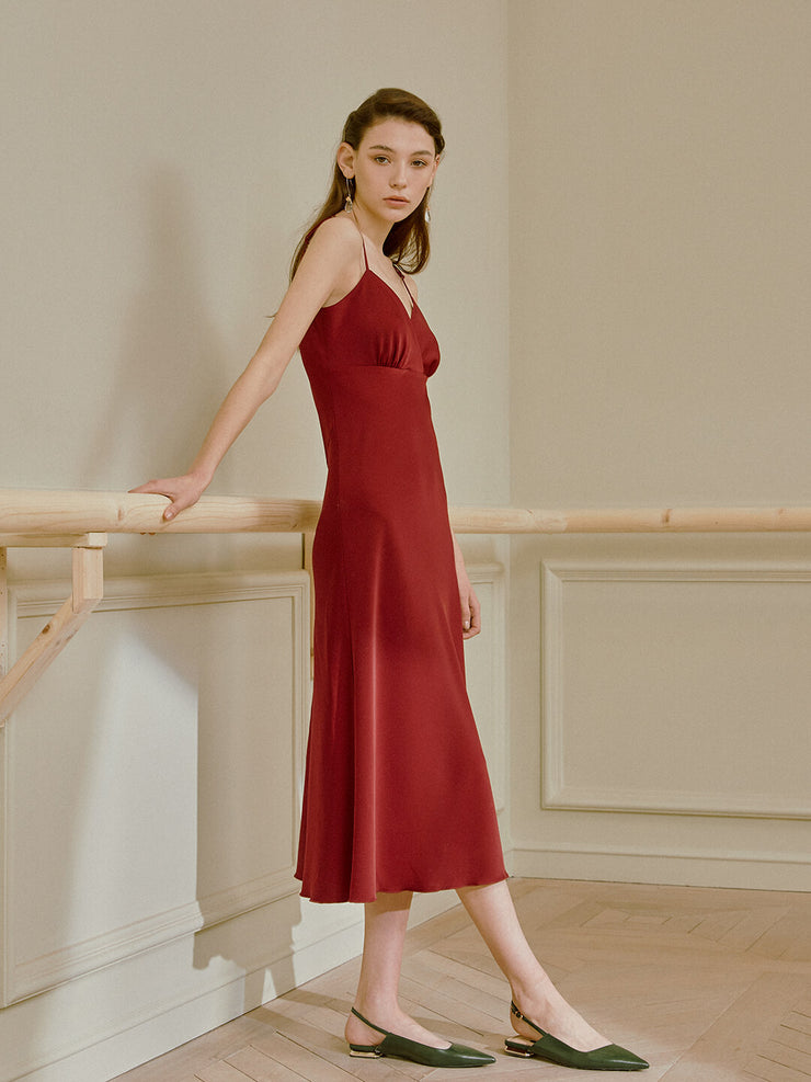 Iris V-Neck Satin Slip Dress