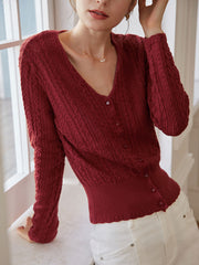Emma Knitting Cardigan-Jujube Red