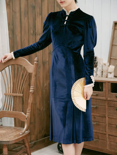 Bethany Velvet Dress/simple retro/11178