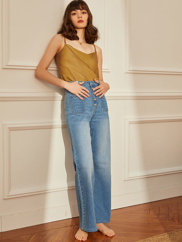 Wide Leg High Rise Jeans