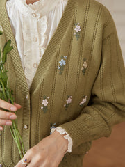 Ally Handmade Embroidery Knitwear-Avocado Green