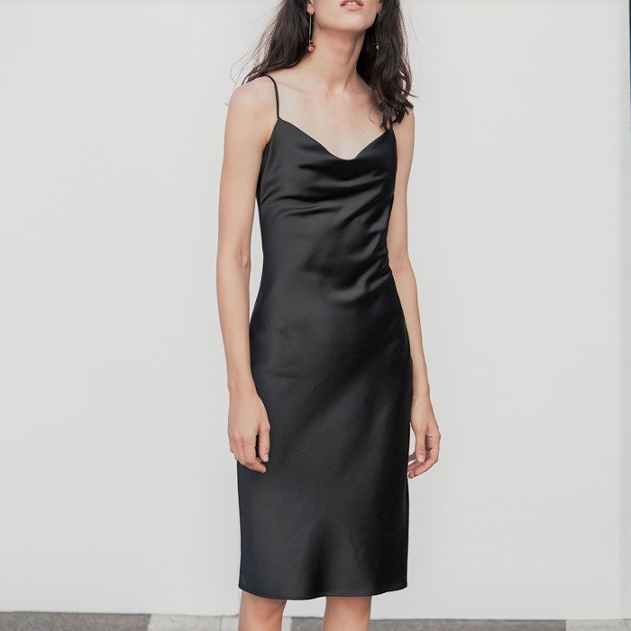 Eva Satin Sling Dress - Black