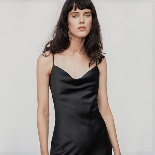 Eva Satin Slip Dress - Black