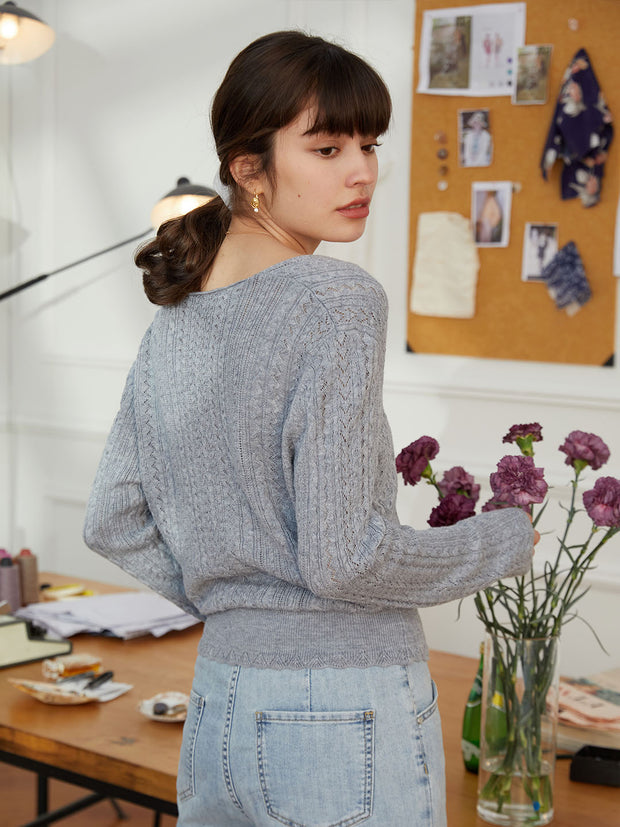 Emma Knitting Cardigan-Light Grey