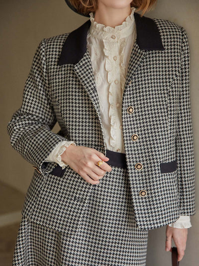 Halima Houndstooth Blazer/Simple Retro/22133