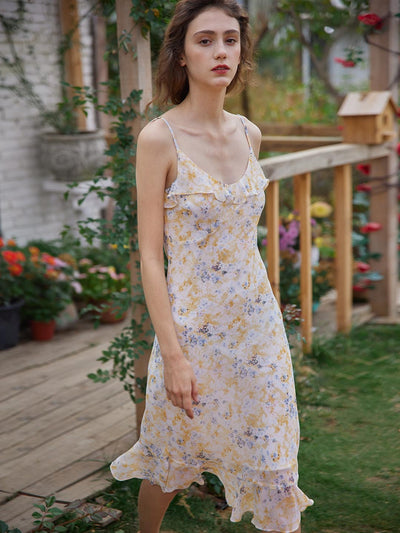 Kama Floral V-neck Slip Dress/Simple Retro/11081