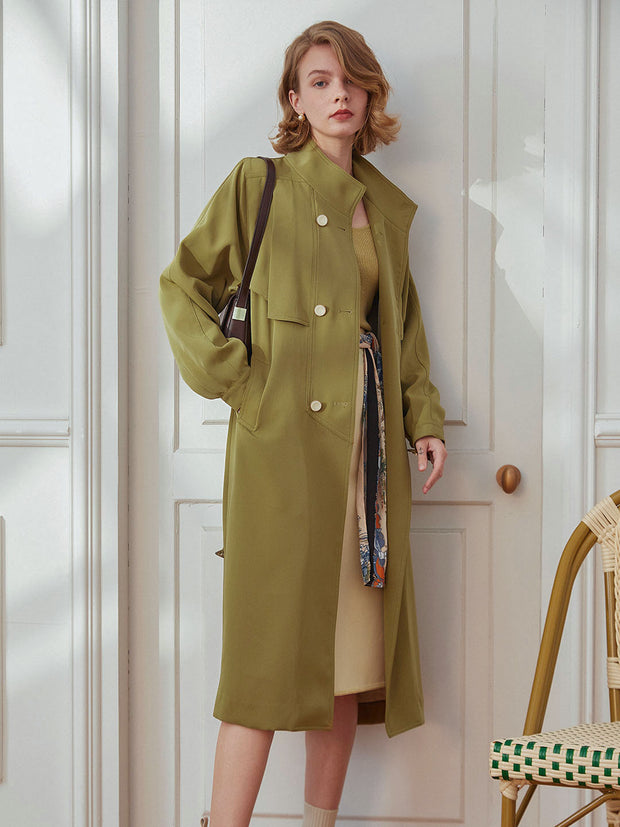 Sean Long Double Breasted Trench Coat-Wasabi Green