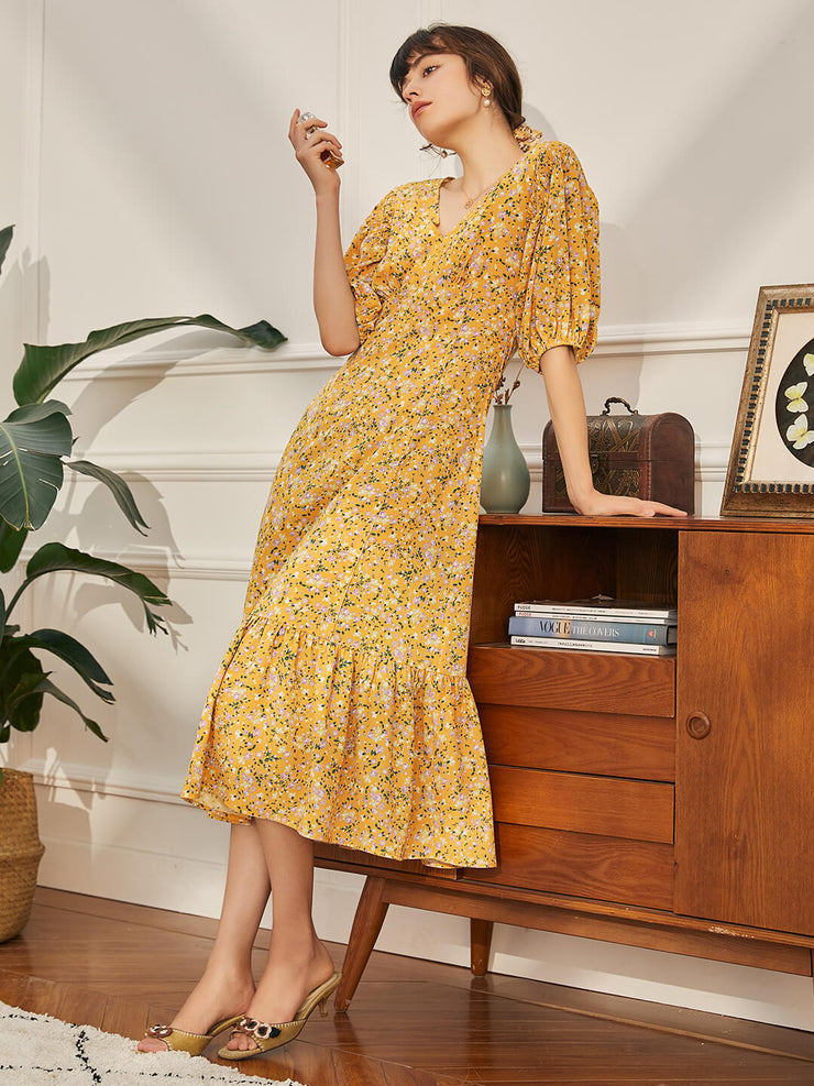 Lena Floral Dress-Long