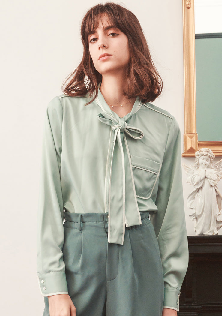 Beryl Satin Blouse - Aqua Green