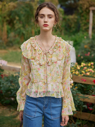 Sylvia Floral Chiffon Blouse/Simple Retro/1200042