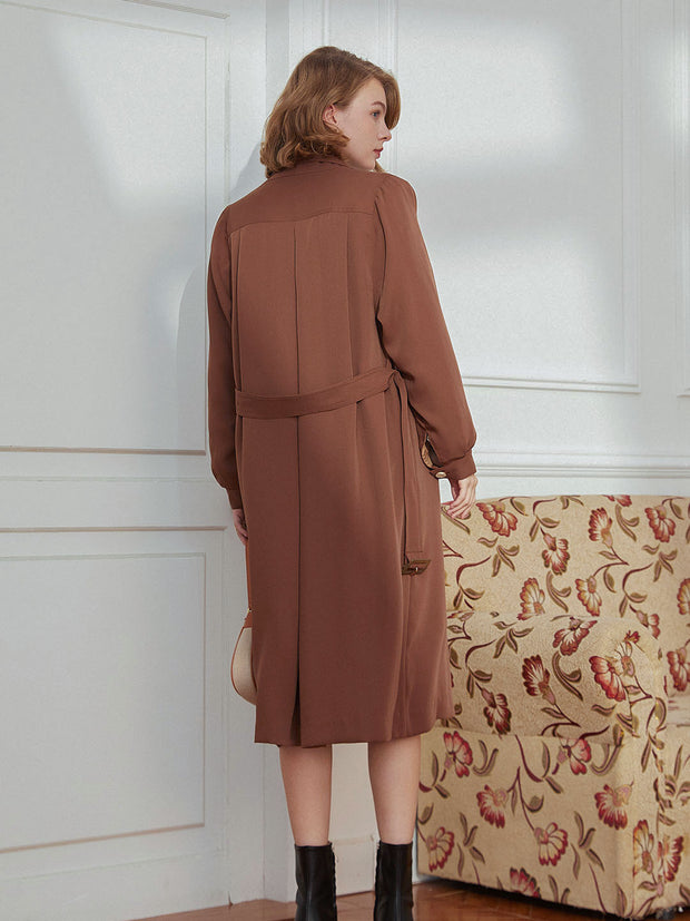 Sean Long Double Breasted Trench Coat-Caramel