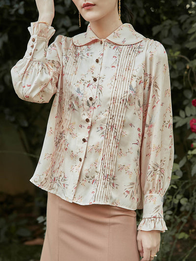Ivana Printed Blouse/simple retro/11185