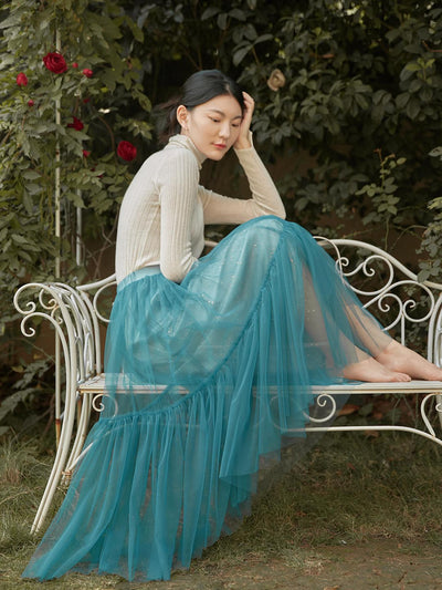 Leila Gauzy Skirt/simple retro/55019