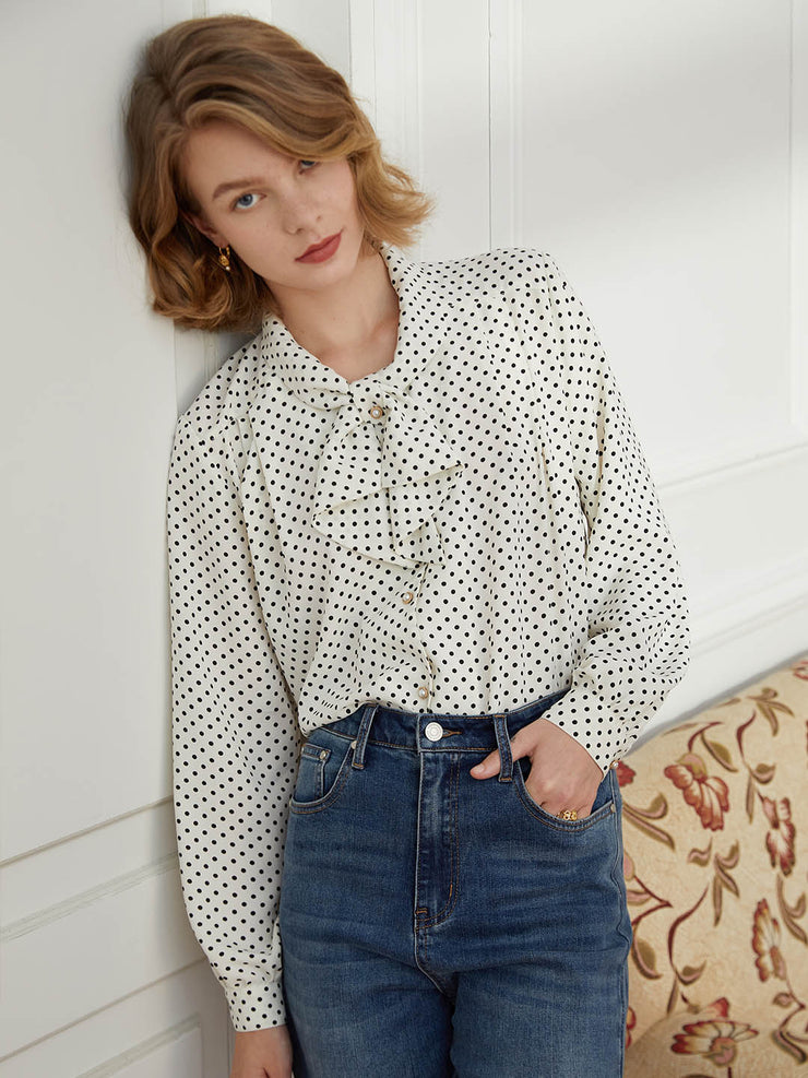 Ula White Polka Dot Blouse
