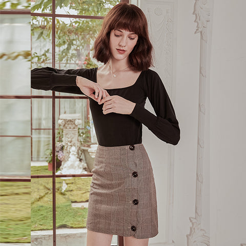 2019 New Autumn Skirt Simple Retro French Tall Waist Show Thin Temperament Suit Skirt Plaid