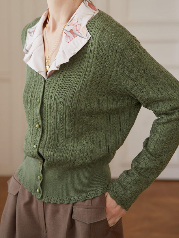 Anna Knitting Cardigan - Olive Green