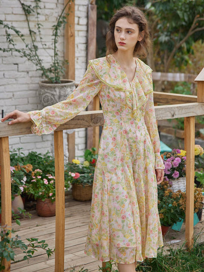 Rosio Floral Printed Maxi Dress/Simple Retro/1200041