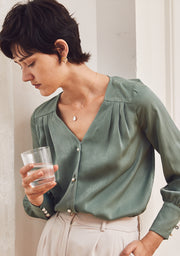 Diana Pearl Buttons Satin Blouse - Celadon