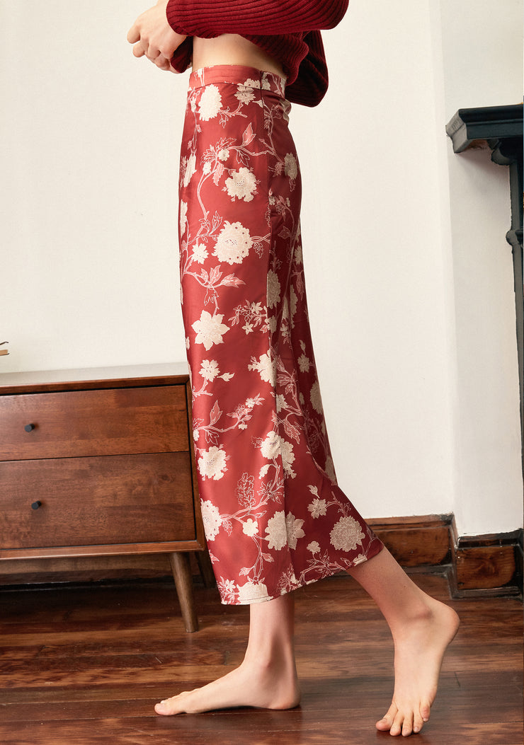Camellia Printed Skirt-Red