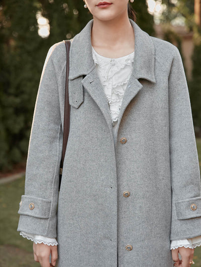 Haley Double-faced Woolen Coat/simple retro/22144