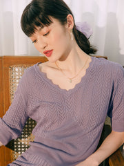 Patricia Icy Silk V-Neck Blouse-Purple