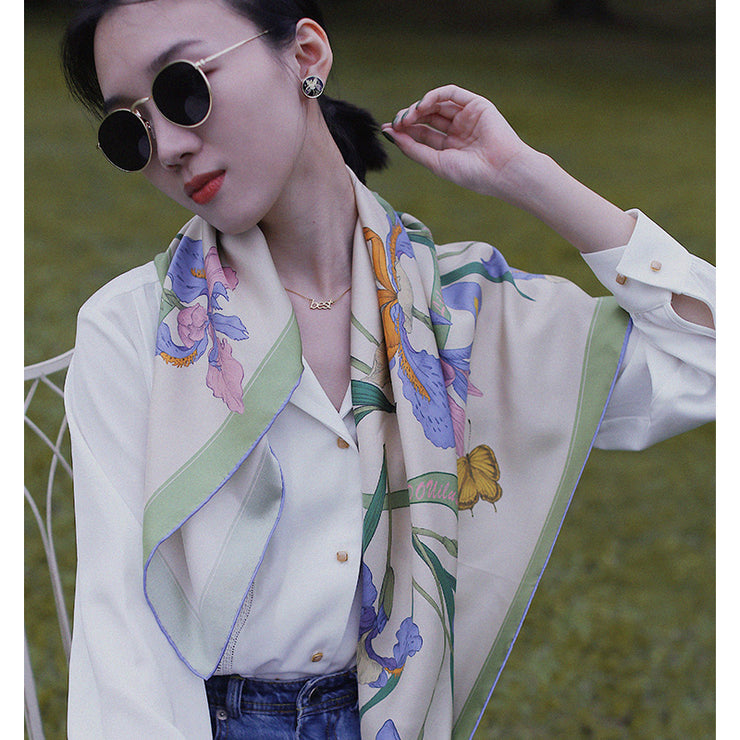 Chowxiaodou 16 Momme Iris Silk Twill Large Square Scarf 90*90