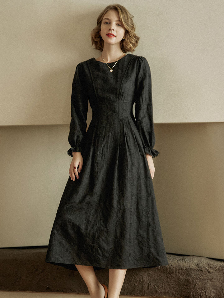 Manda Cotton-Linen Floral Embroidery Dress in Black