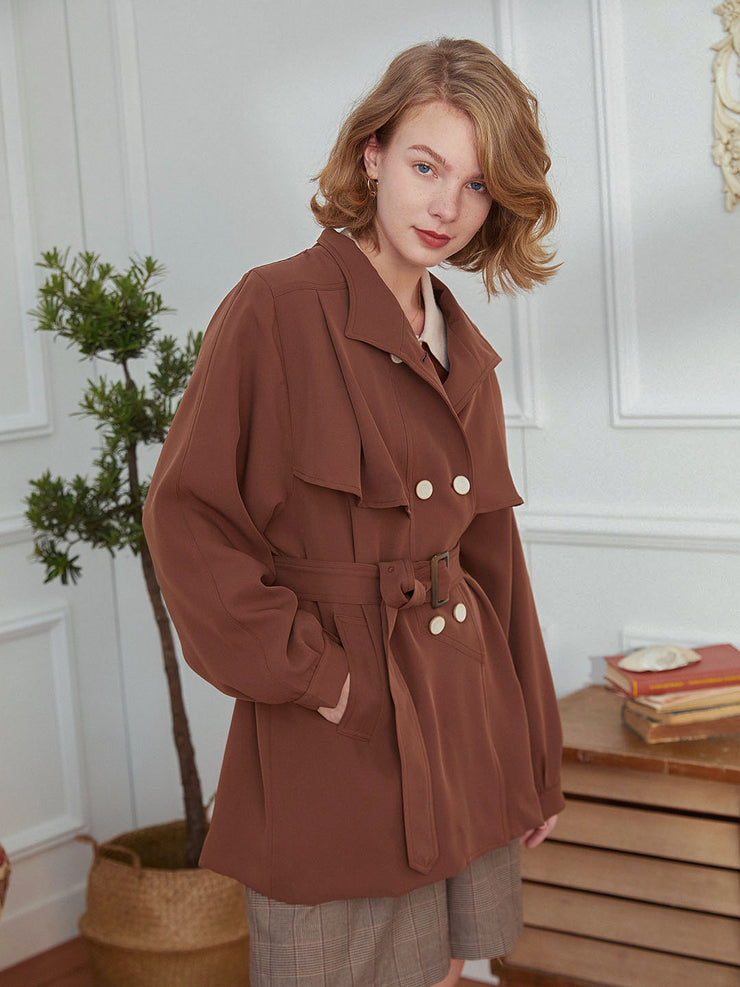 Tess Tie Trench Coat-Caramel Colour