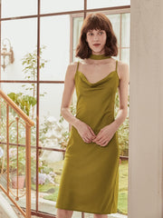 Margaux  A-Line V-Neck Satin Dress