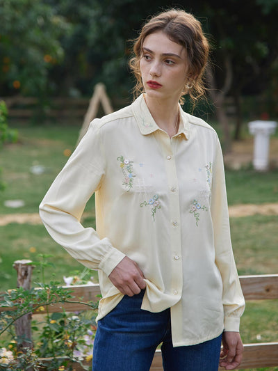 Isabel Embroidery Blouse/Simple Retro/1200021