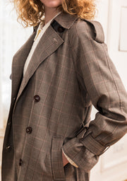 Bess Brown Plaid Coat-Short