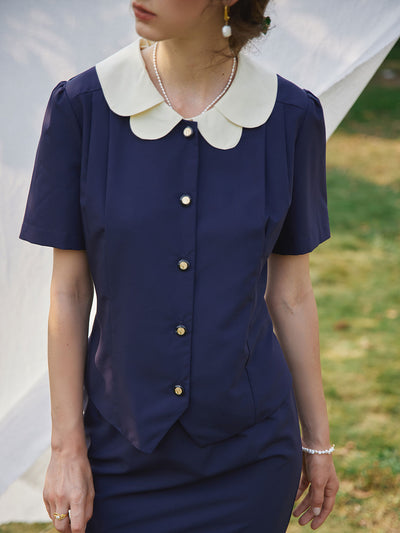 Kimura Patchwork Collar Blouse/Simple Retro/11235