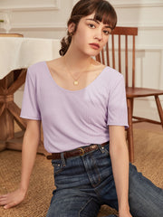 Anila Modal V-Neck T-Shirt-Purple