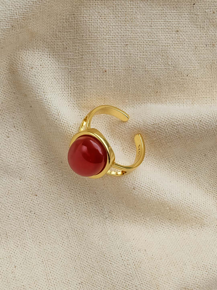 Red Agate Ring/Simple Retro/33280