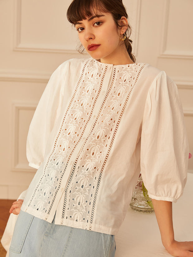 Ramona Lace Cotton Blouse